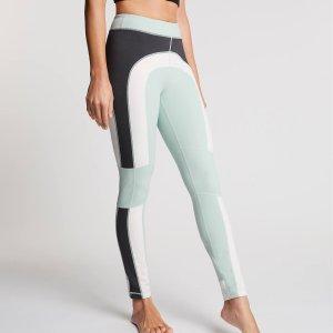 Colorblock yoga legging Leah met blauw, wit en grijs
