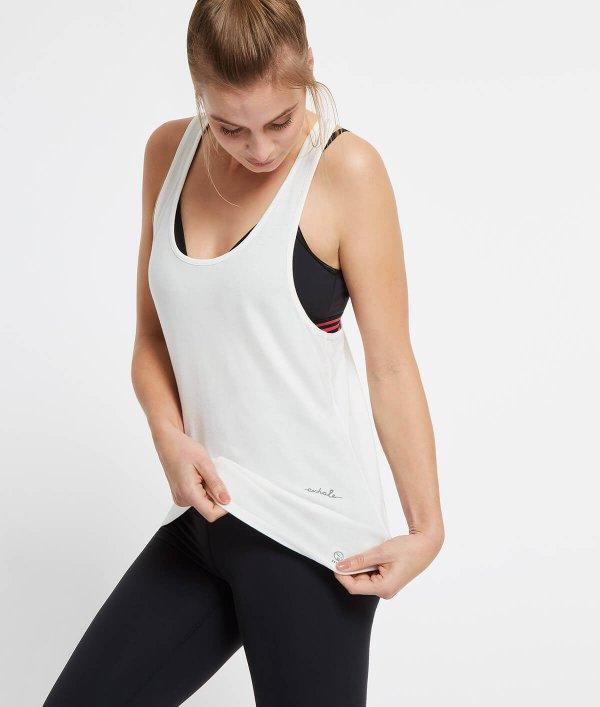 Loose-fit witte yoga top met tekst