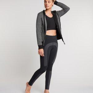 Colorblock yoga legging met zwart en grijs