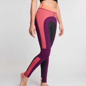 Colorblock yoga legging met paars, roze en oranje